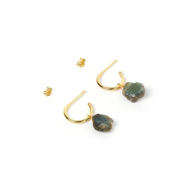 Carmen Gold and Labradorite Hoop Earrings