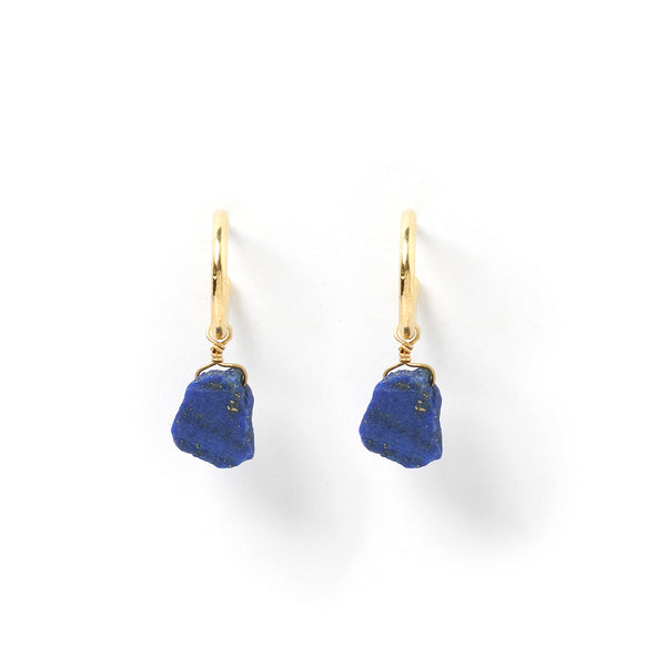 Carmen Gold and Lapis Lazuli Hoop Earrings