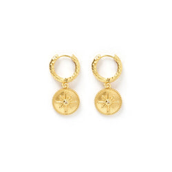 Compass Gold Huggie Earrings