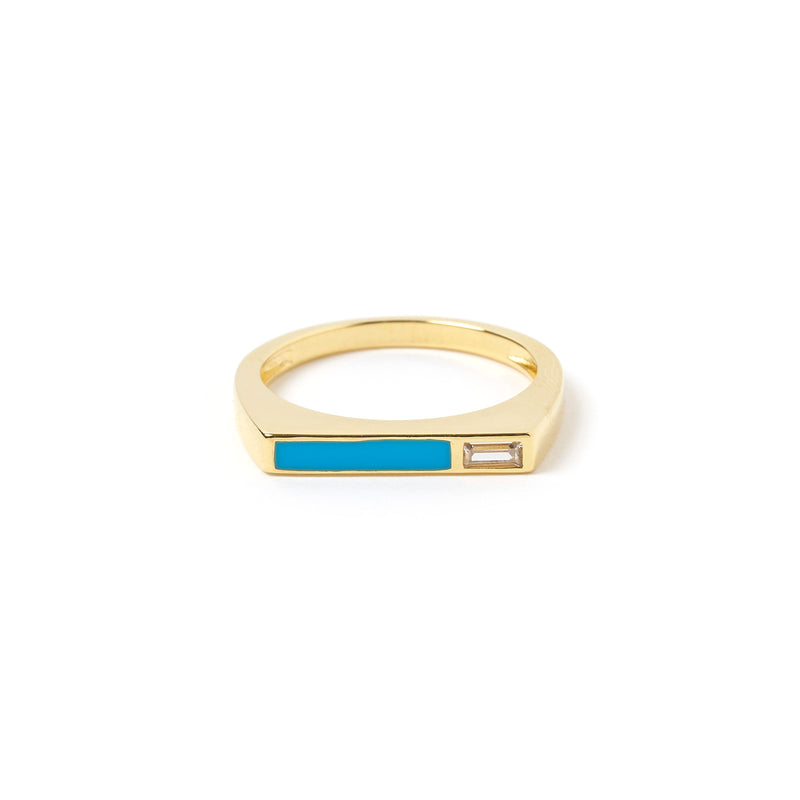 Cruz Gold and Enamel Stone Ring - Turquoise