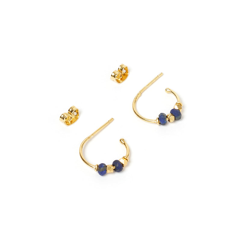 Inca Gold and Lapis Lazuli Hoop Earrings