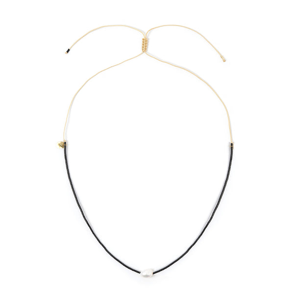 Matilda Pearl & Glass Beaded Necklace - Black