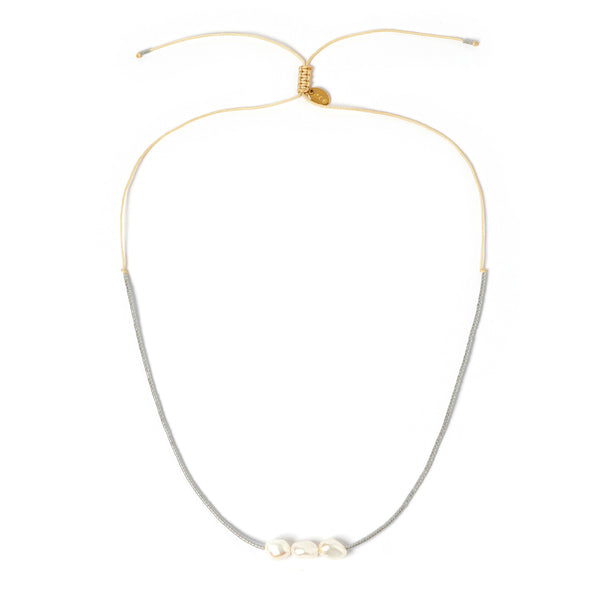 Sage Gold and Pearl Choker - Silver