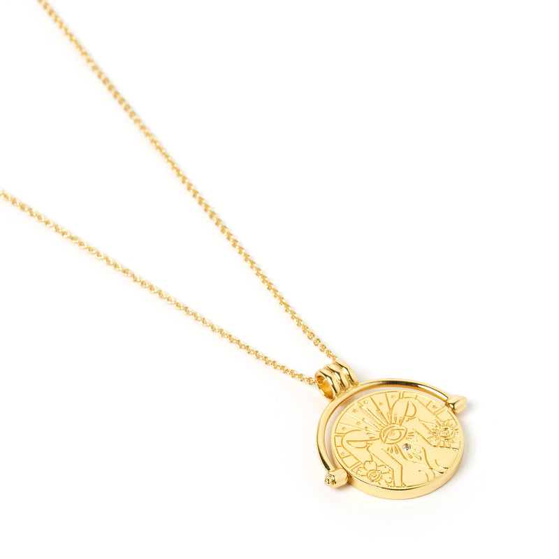 Gemini Zodiac Gold Spinner Necklace