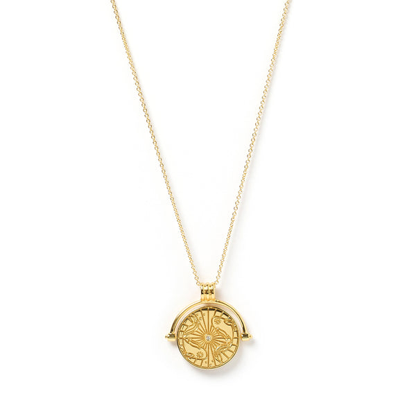 Pisces Zodiac Gold Spinner Necklace