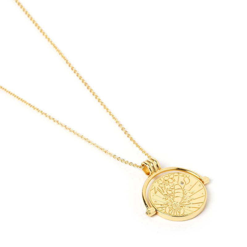 Scorpio Zodiac Gold Spinner Necklace