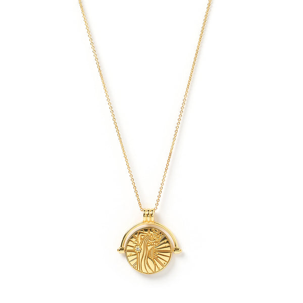 Virgo Zodiac Gold Spinner Necklace