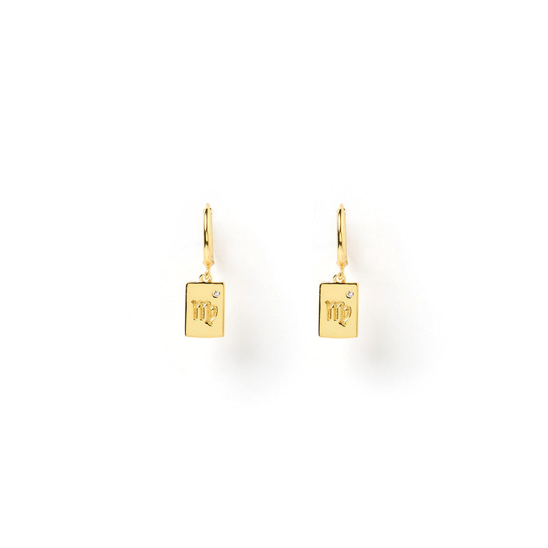 Zodiac Gold Tag Earrings
