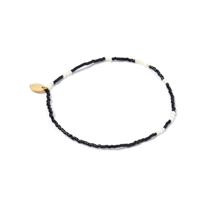 Poppy Pearl & Glass Beaded Anklet - Black