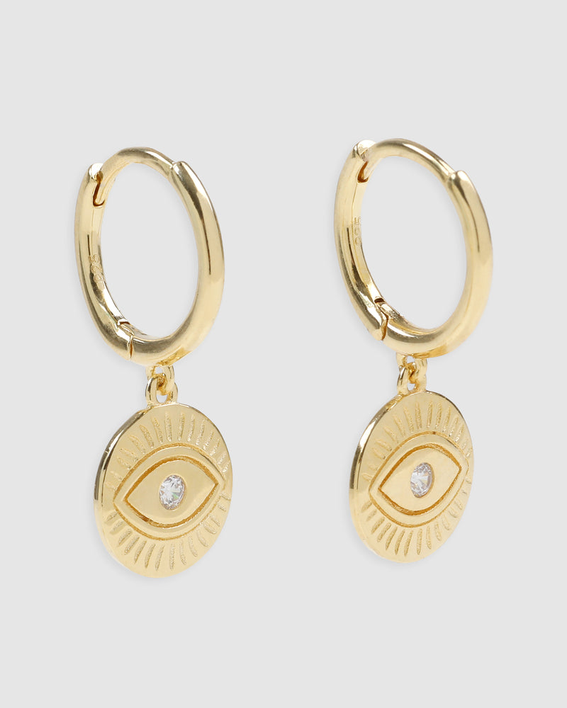 Protective Eye Gold Hoop Huggies