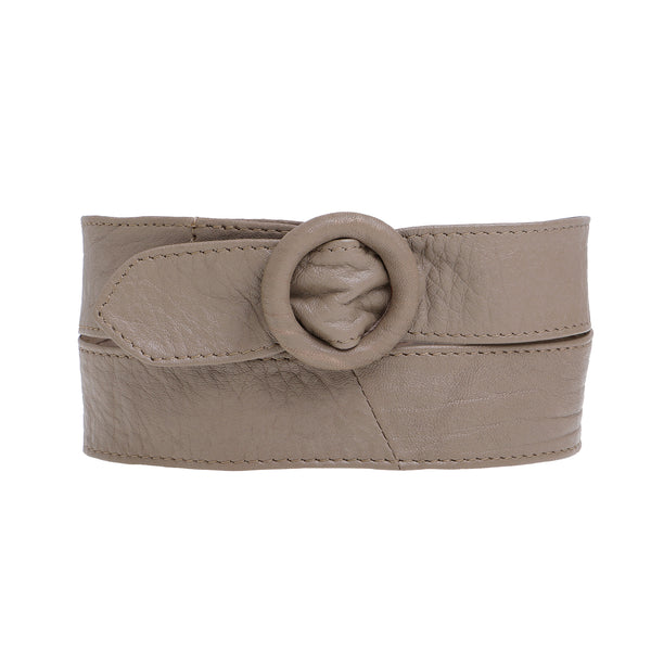 Temptress Waisted Leather Belt - Taupe