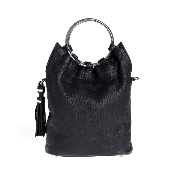 Society Leather Slouch Bag - Black