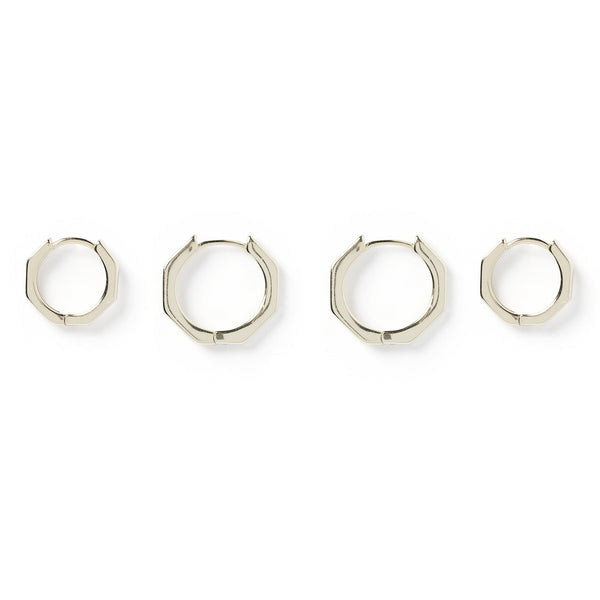 Billy Hexagon Silver Earring Stack