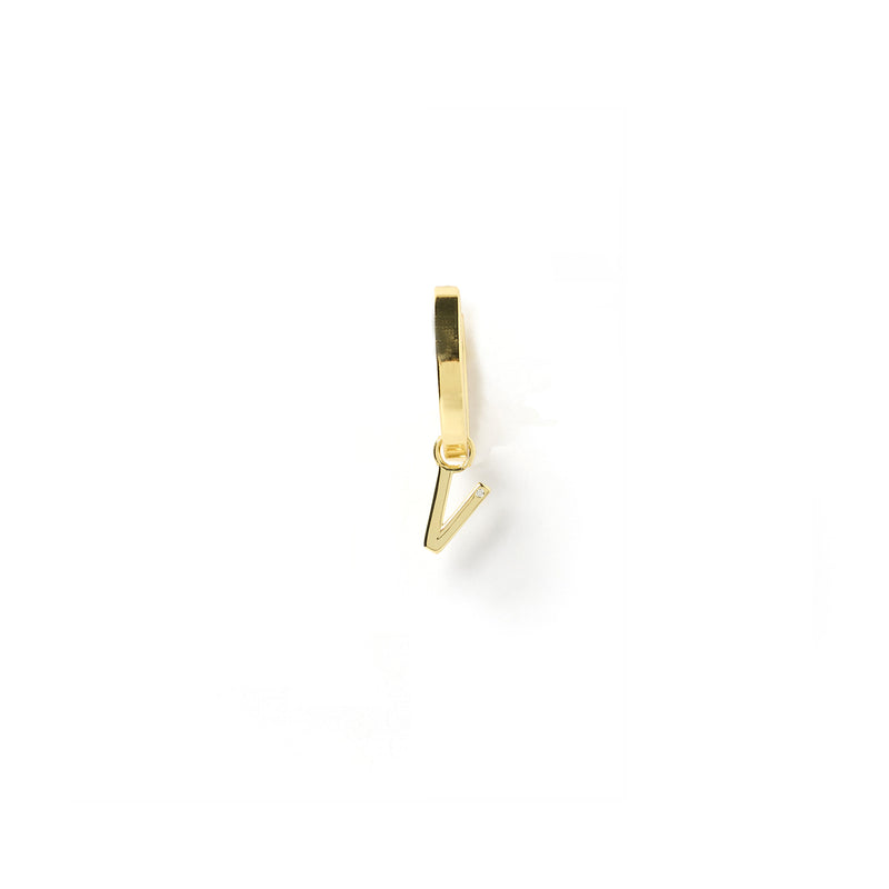 Initial Gold Charm Earring