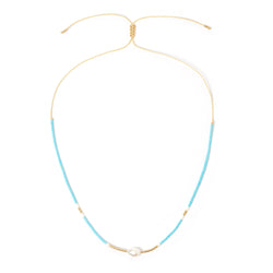 Taylor Pearl & Glass Beaded Necklace - Turquoise
