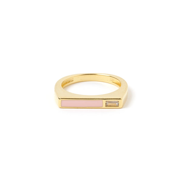 Cruz Gold and Enamel Stone Ring - Blush