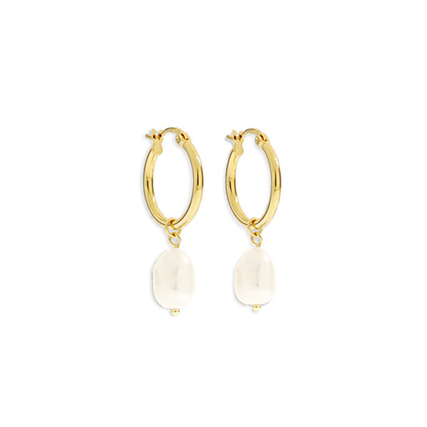 Augusta Gold Hoop & Freshwater Pearl Earrings - Small