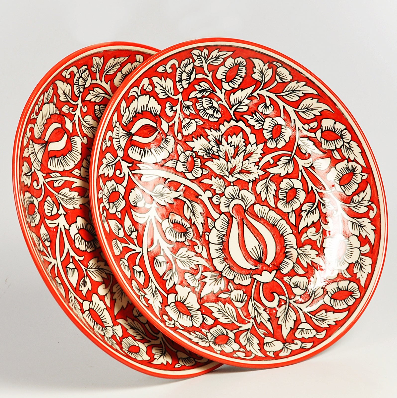 Red Mughal Full Plates - Set of 2