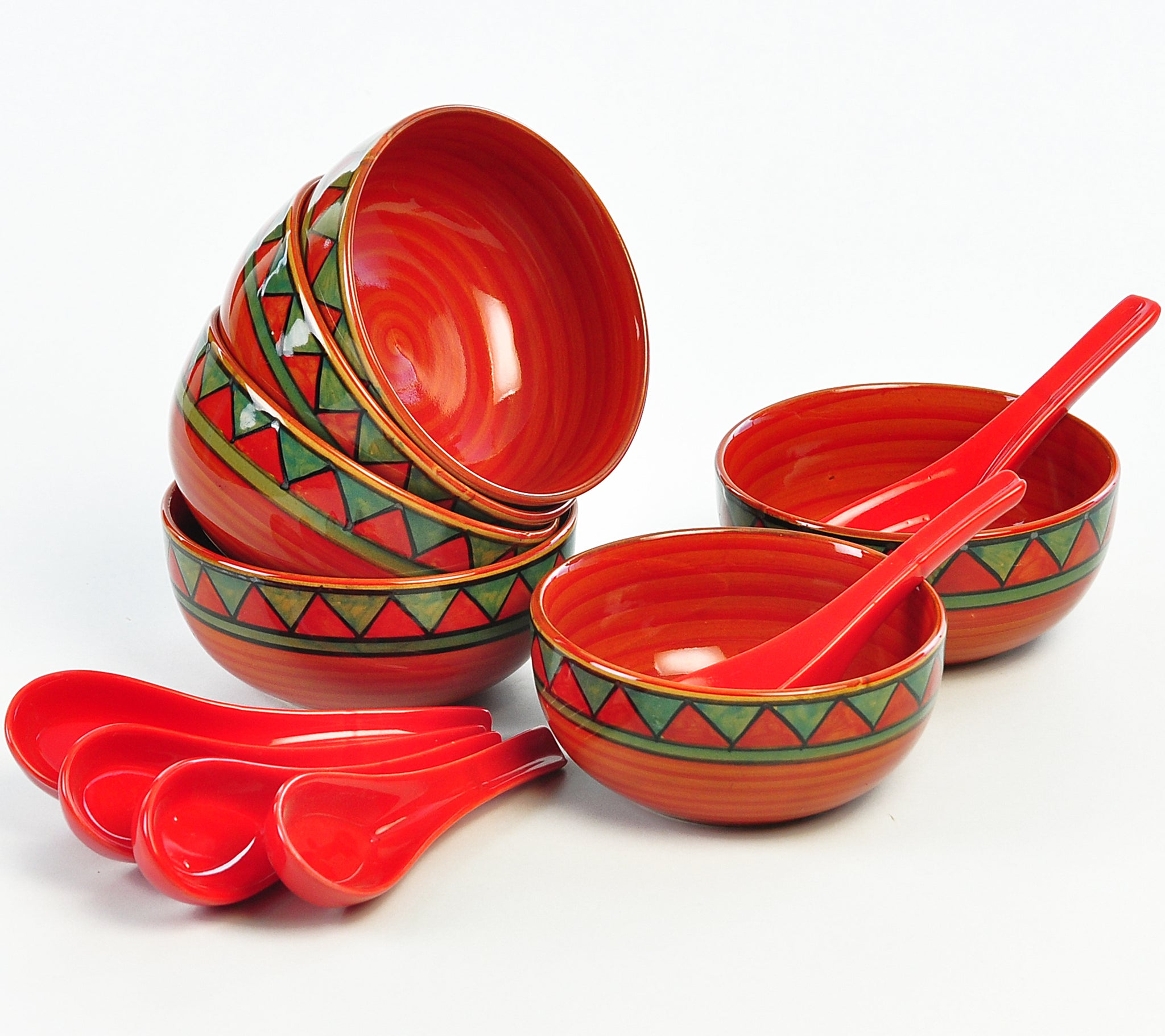 Trian Red N Green Soup Bowls - Set of 6+6