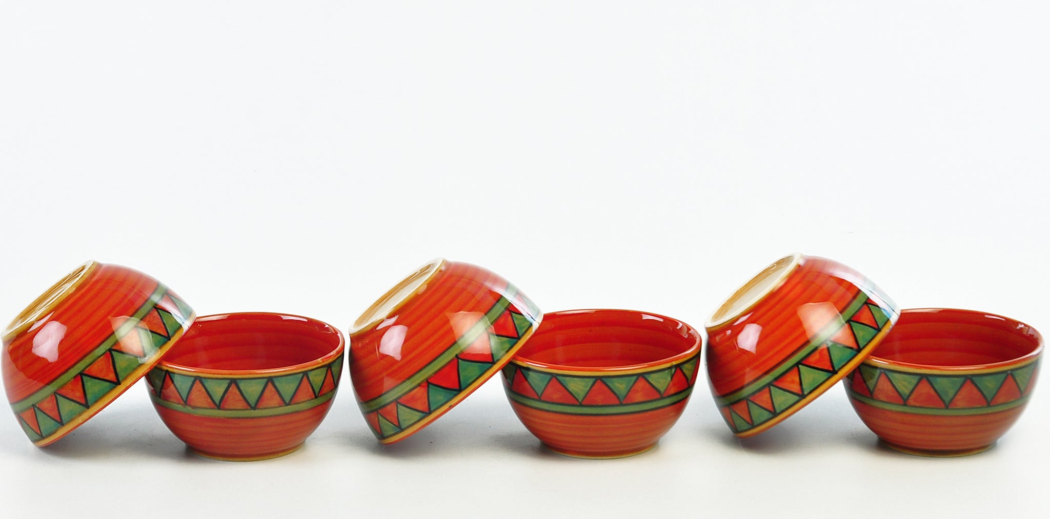 Trian Red N Green Sweet Bowls - Set of 6 pcs