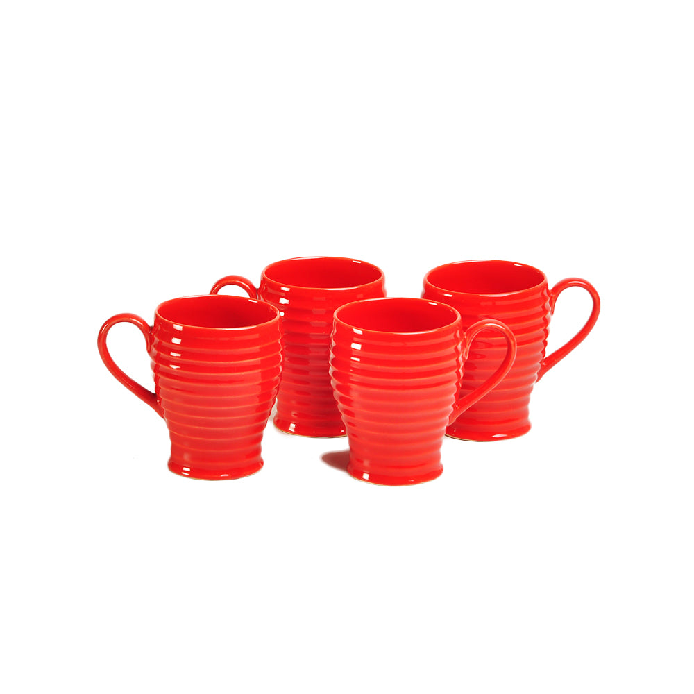 Red Cara Coffee Mugs - Set Of 4
