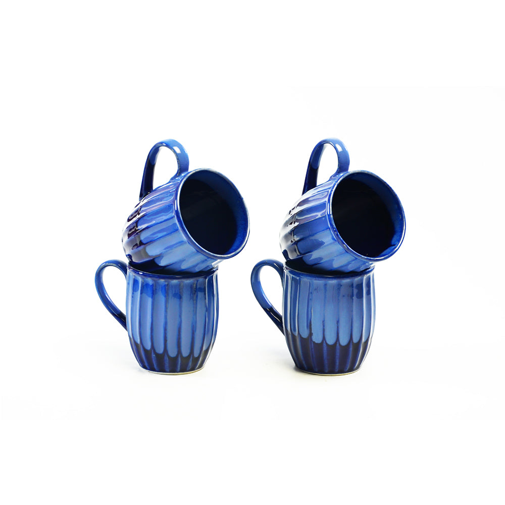Viiva Blue Coffee Mugs - Set of 4