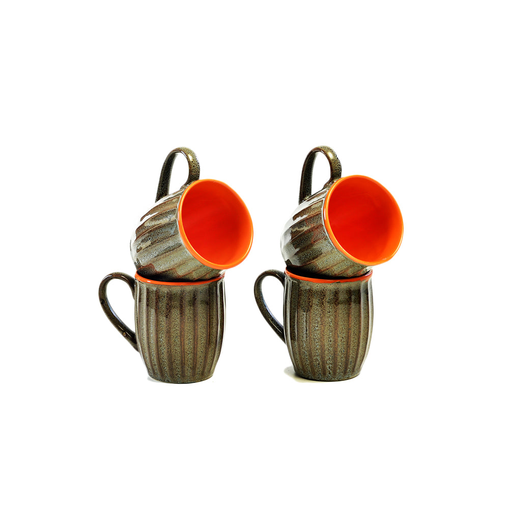 Viiva Orange & Grey Coffee Mugs - Set of 4