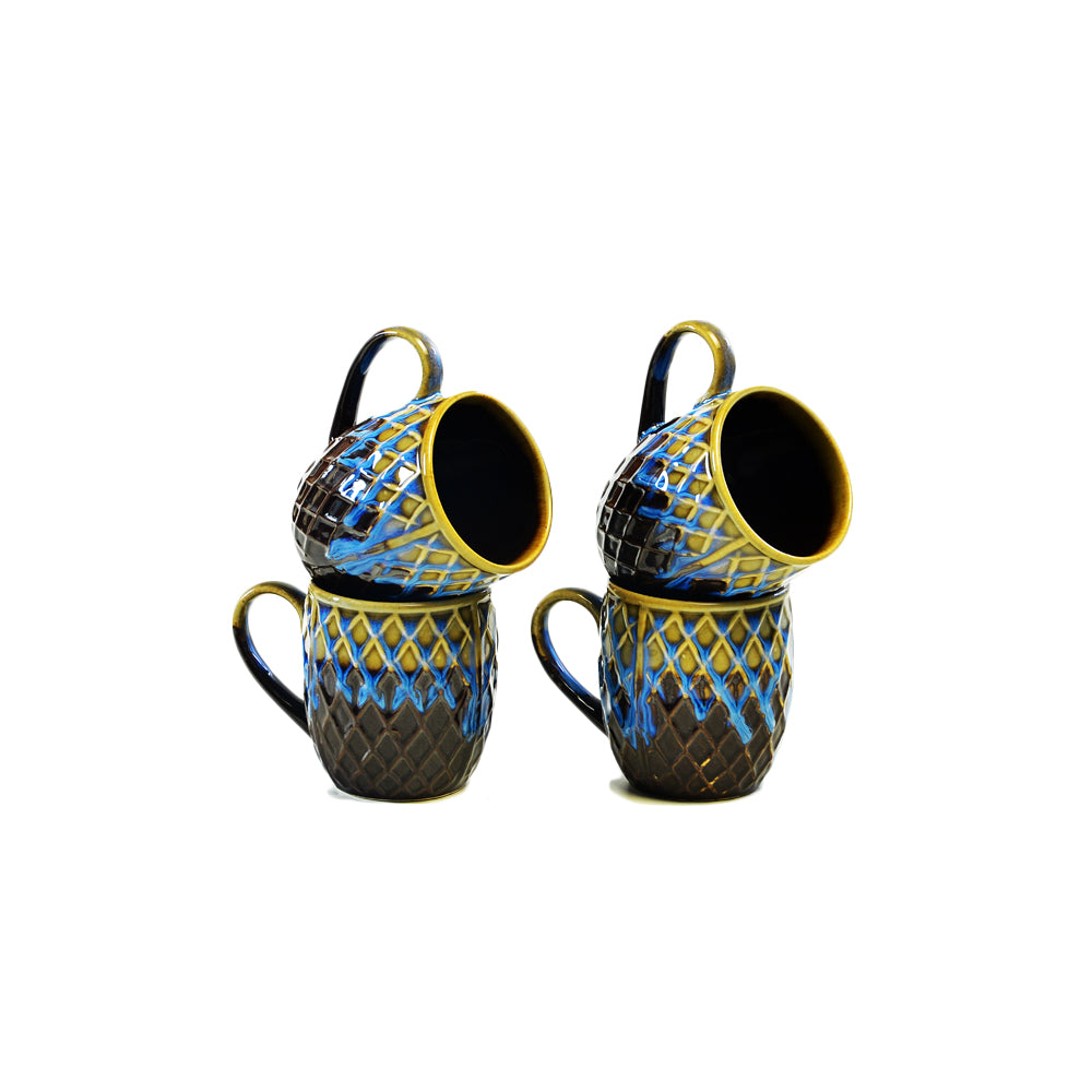 Yeni Brown & Blue Coffee Mugs - Set of 4