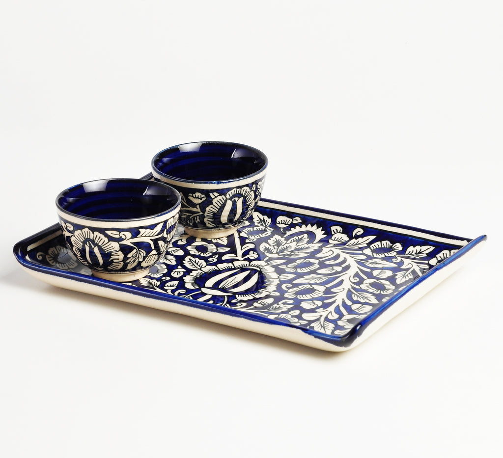 Symmetrical Mughal Snacks Platter with Two Dip Bowls