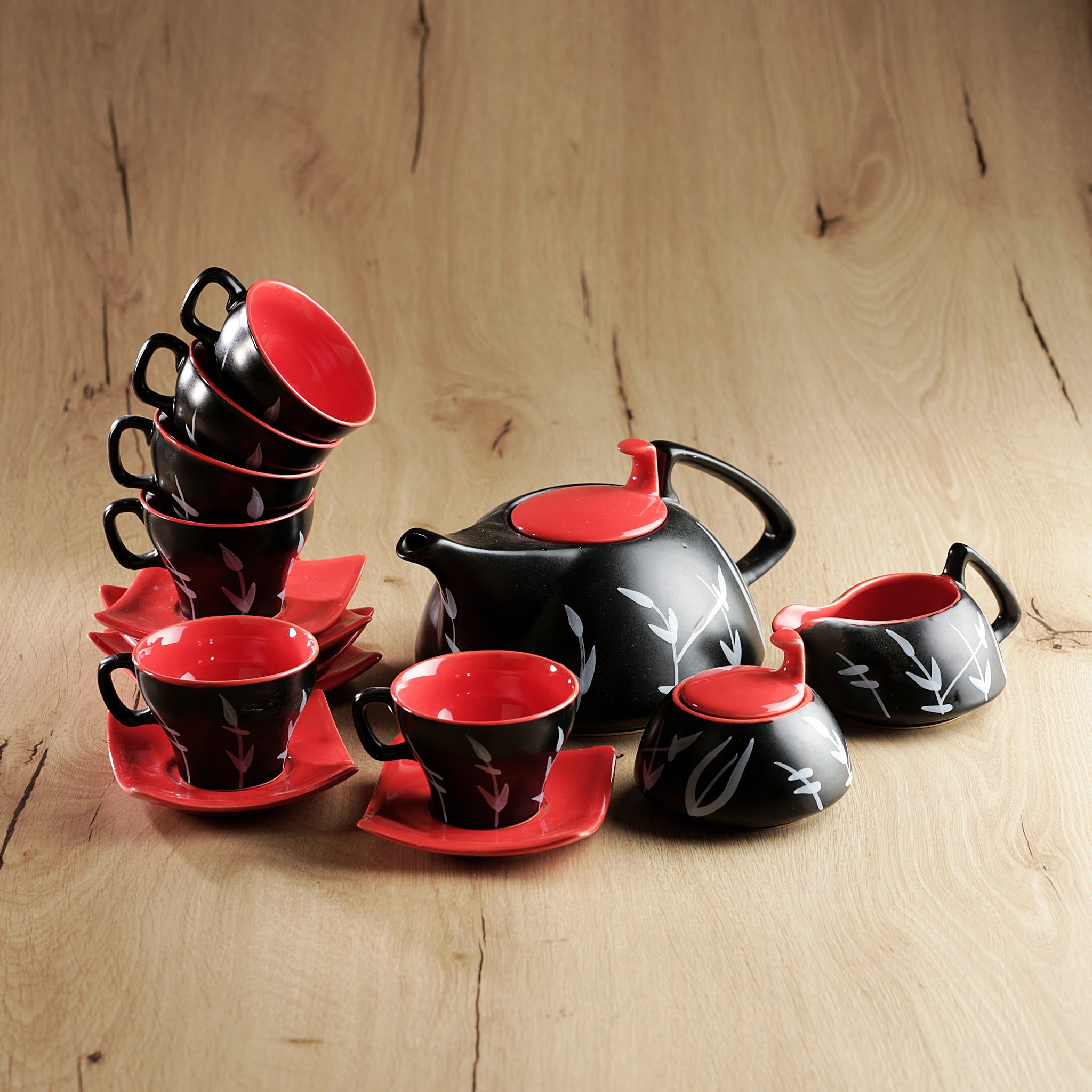 Bamboo Noveau Tea Set - Red and Black - Set of 15 pcs