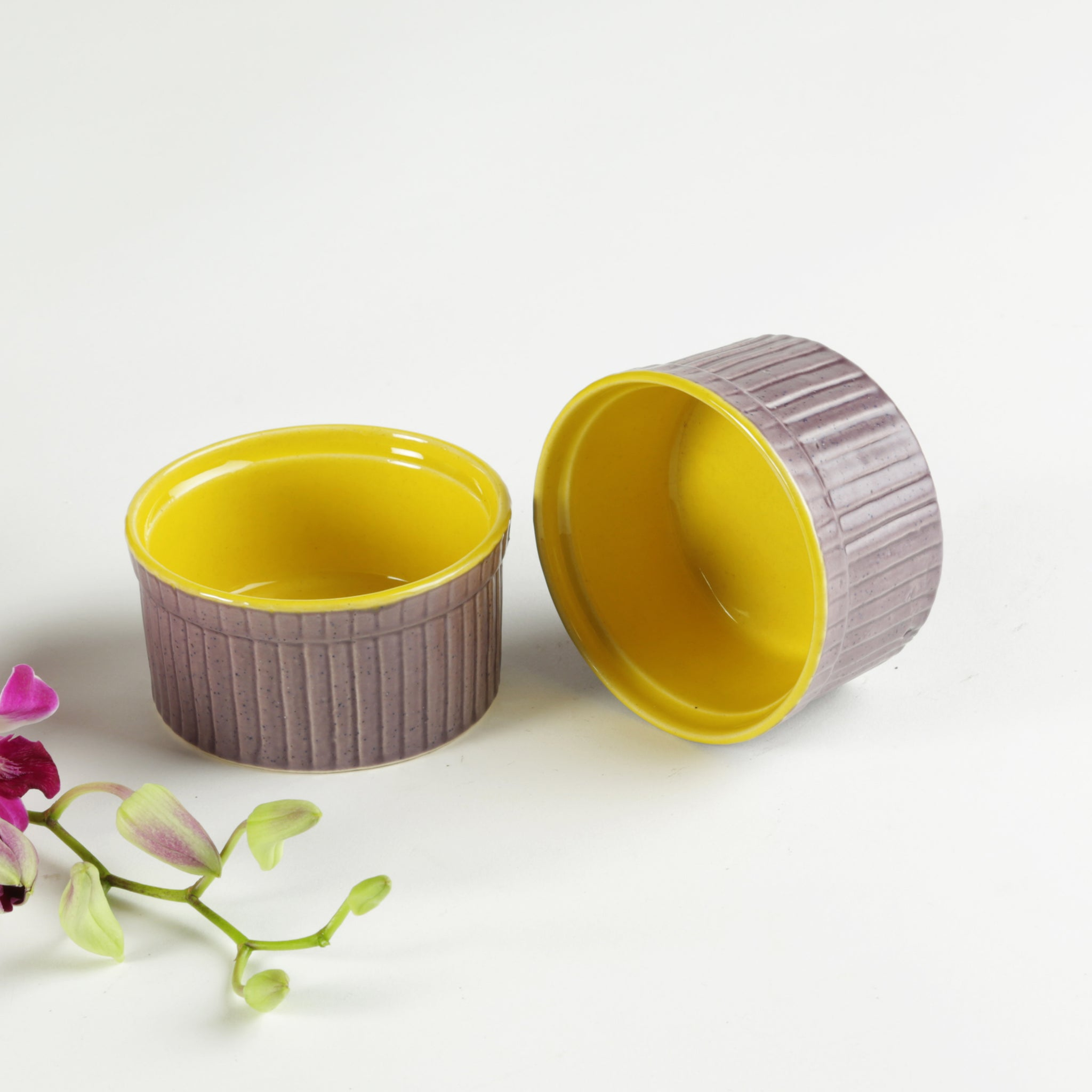 Dessert Bowls -Purple and Yellow -Set of 2