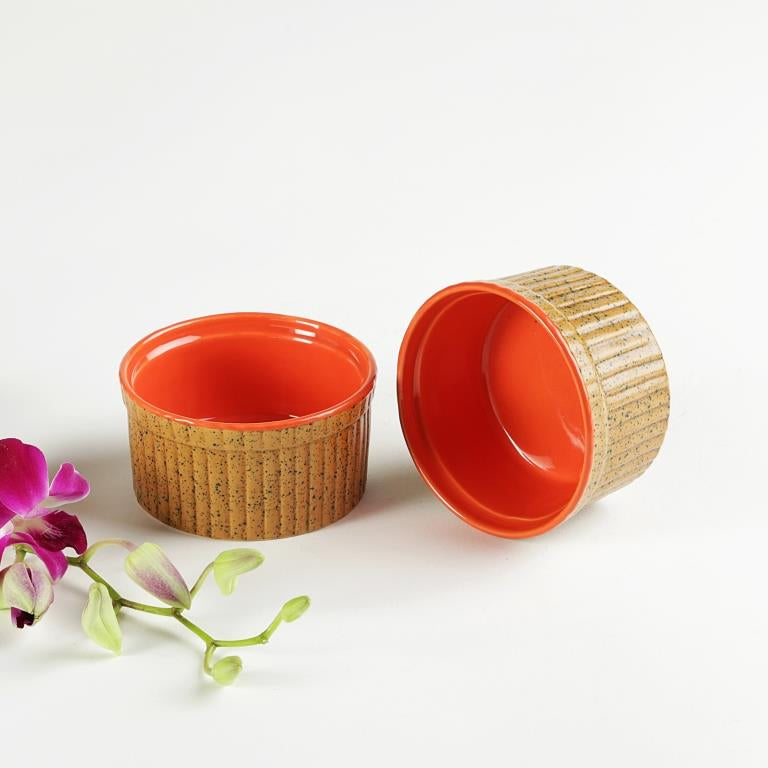 Dessert Bowls - Golden Brown and Orange -Set of 2