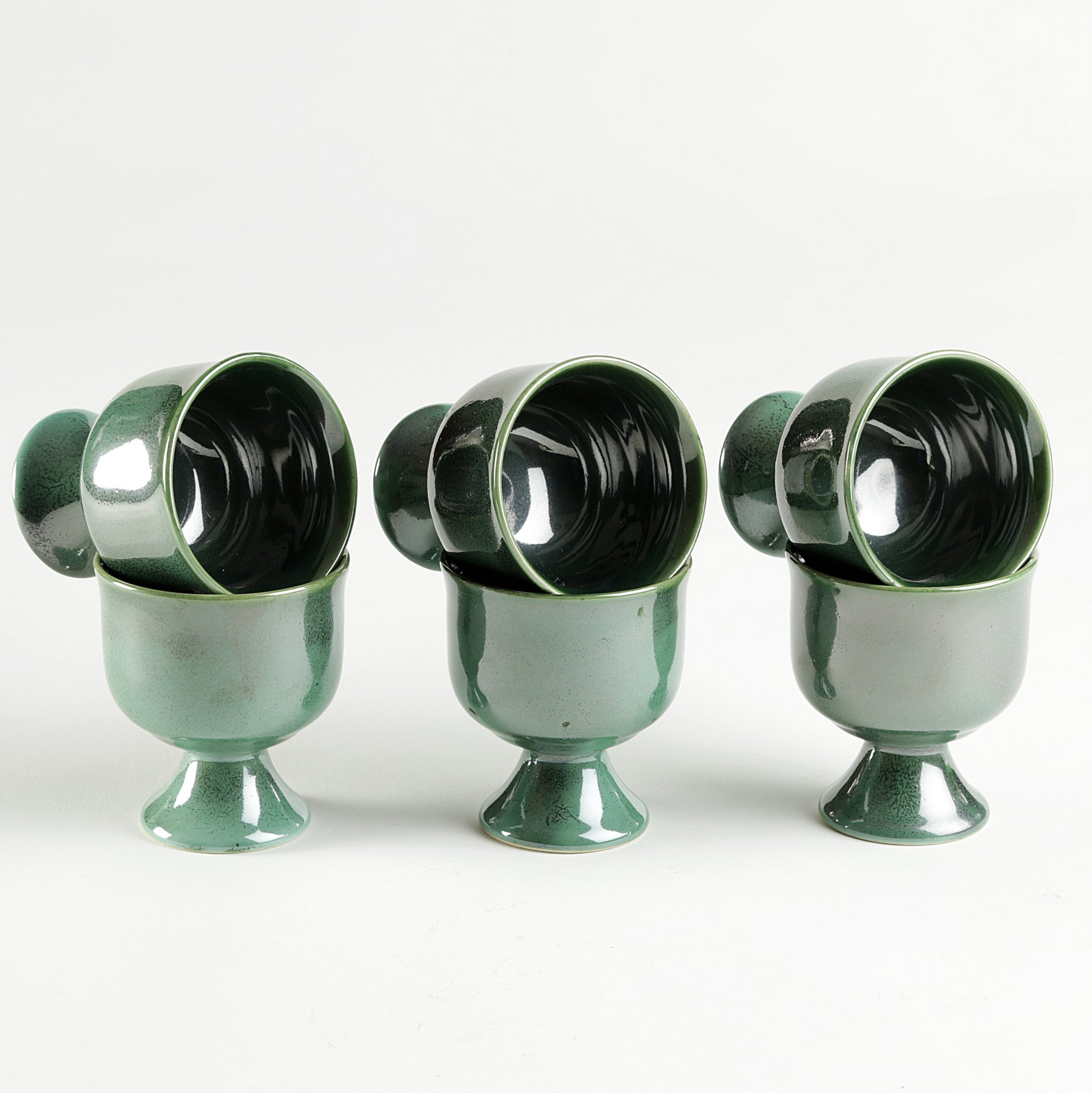 Metallic Green Icecream Serving Set of 6 pcs