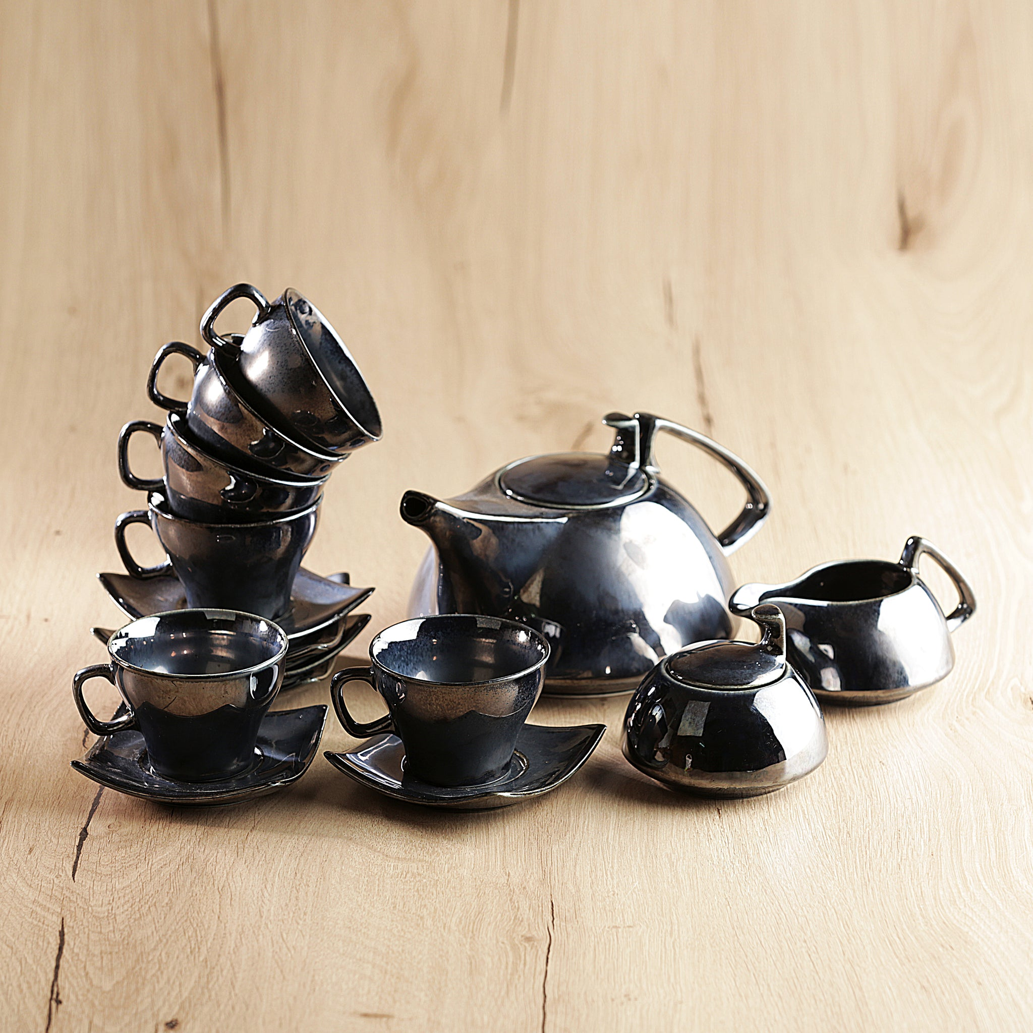 Metallic Noveau Tea Set of 15 pcs