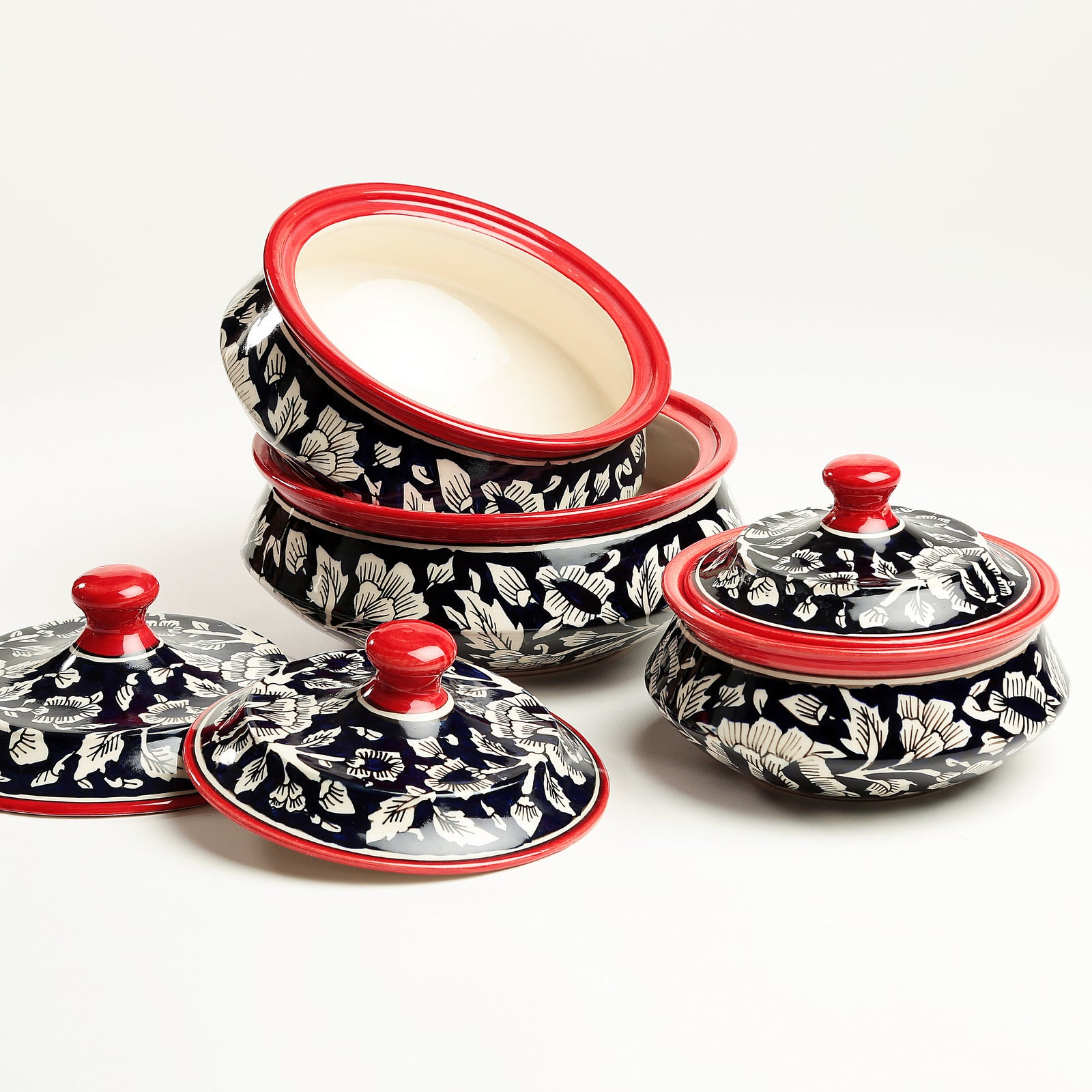 Mughal Handpainted Serving Bowls with Lids - set of 3