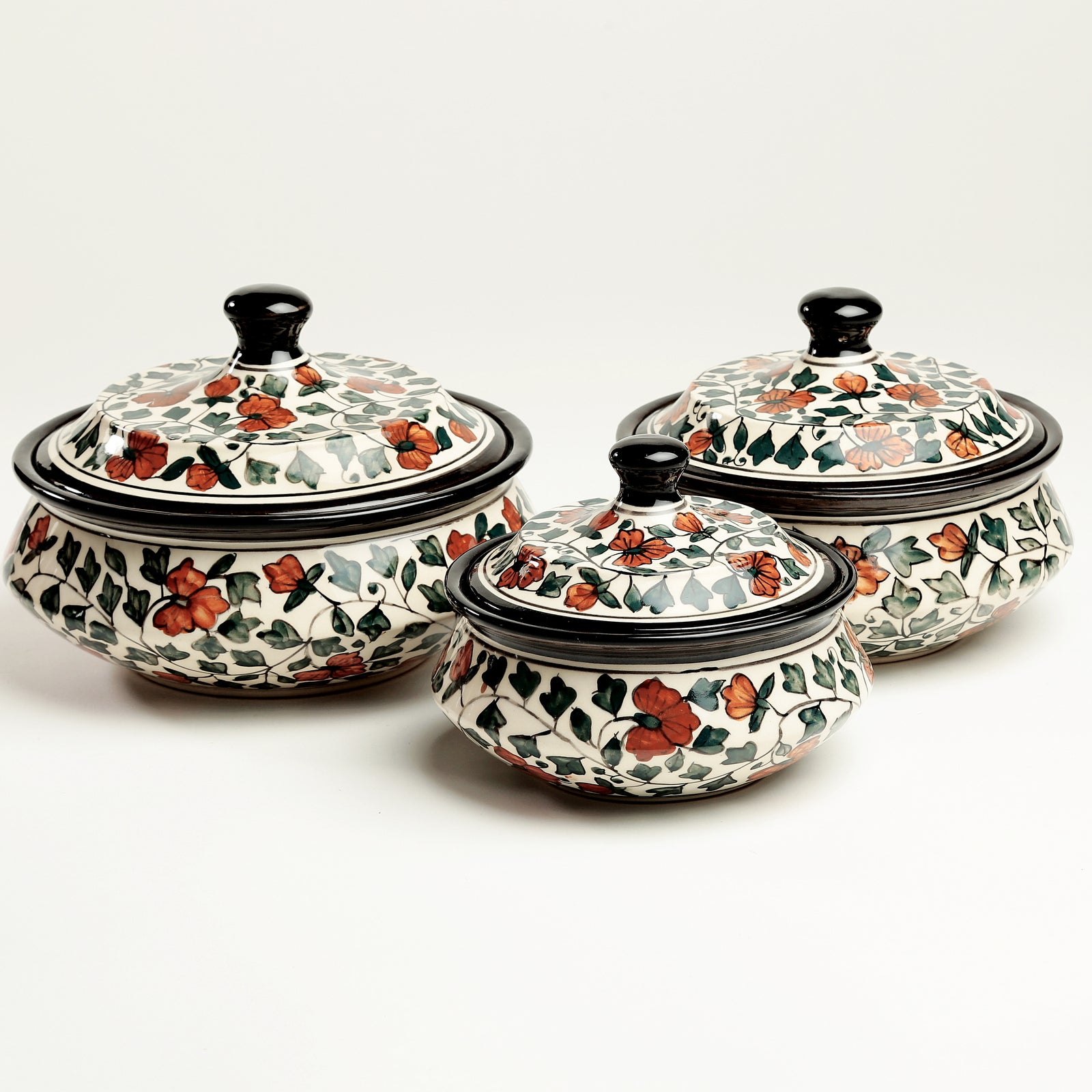Nayeli Handpainted Serving Bowls with Lid - Set of 3