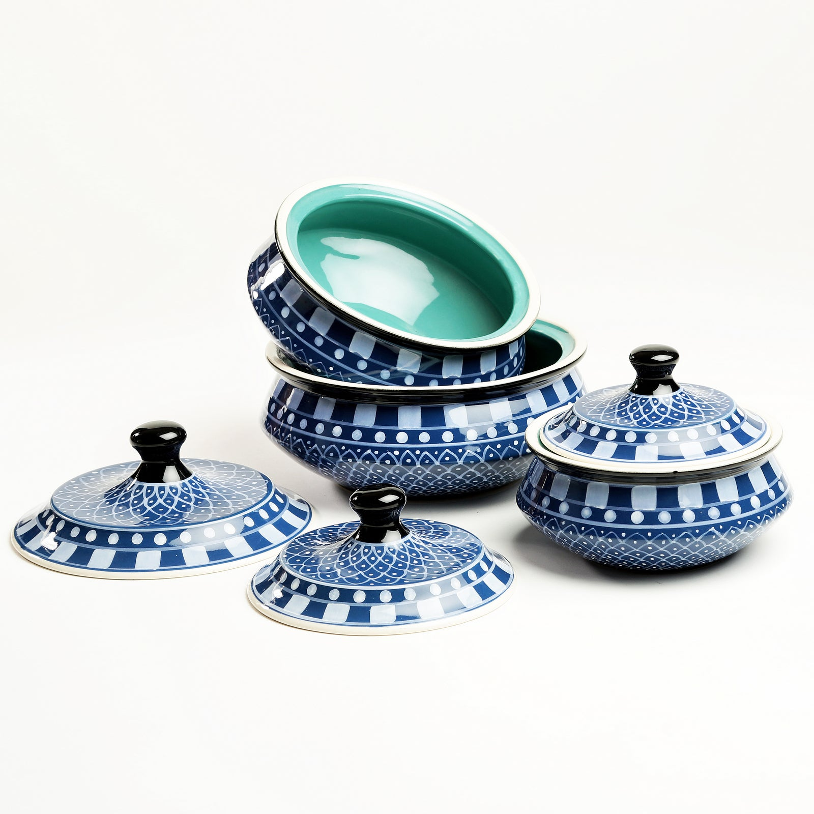 Amaia Handpainted Serving Bowl with Lid -Blue - Set of 3