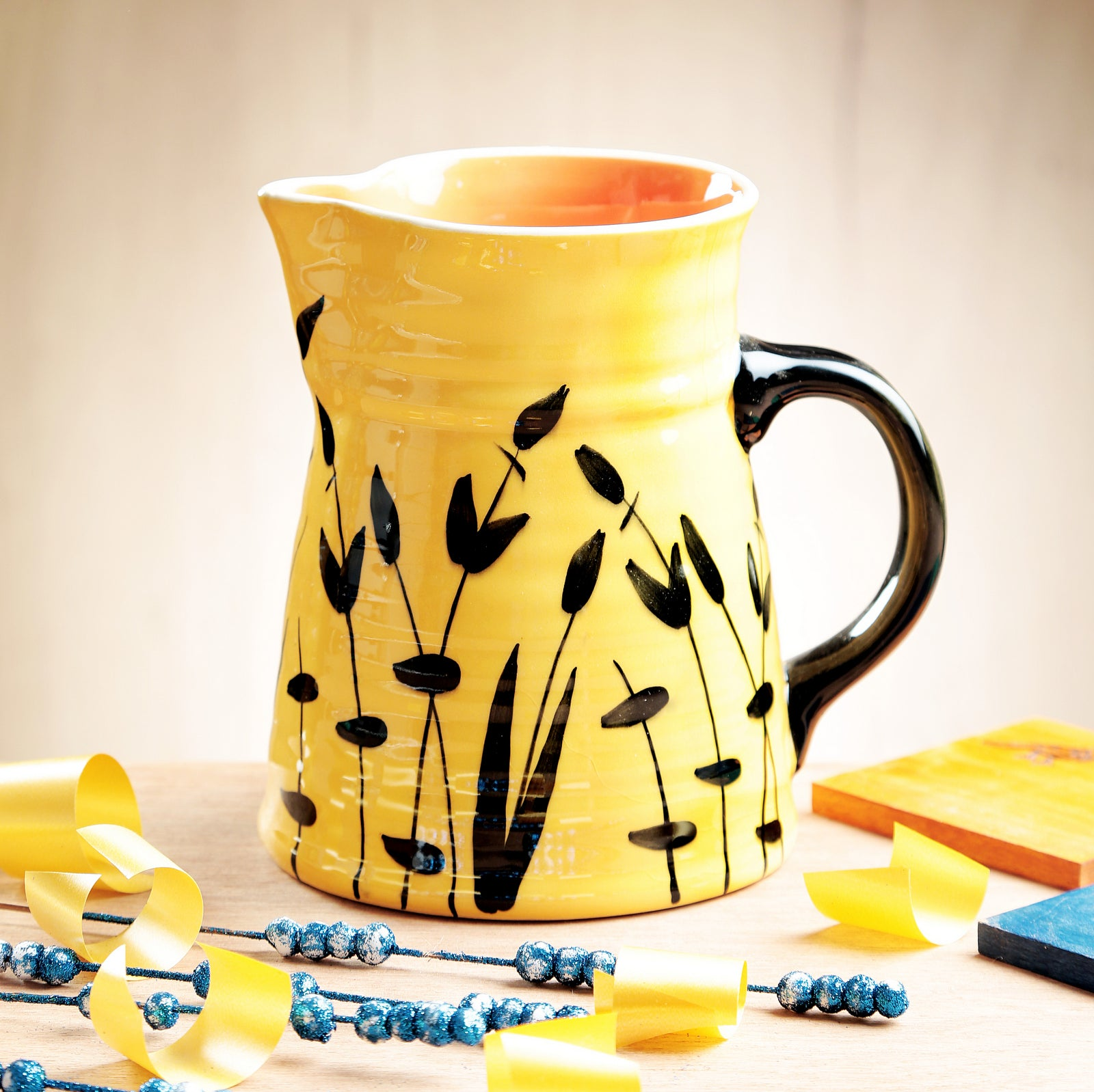 Yellow Handpainted Pitcher - Medium