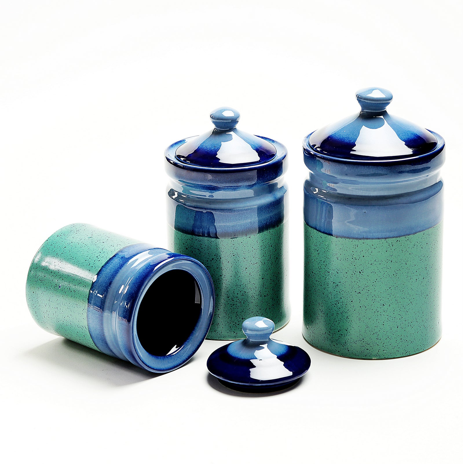 Green and Blue Studio Ceramic Barni/Containers - Set of 3