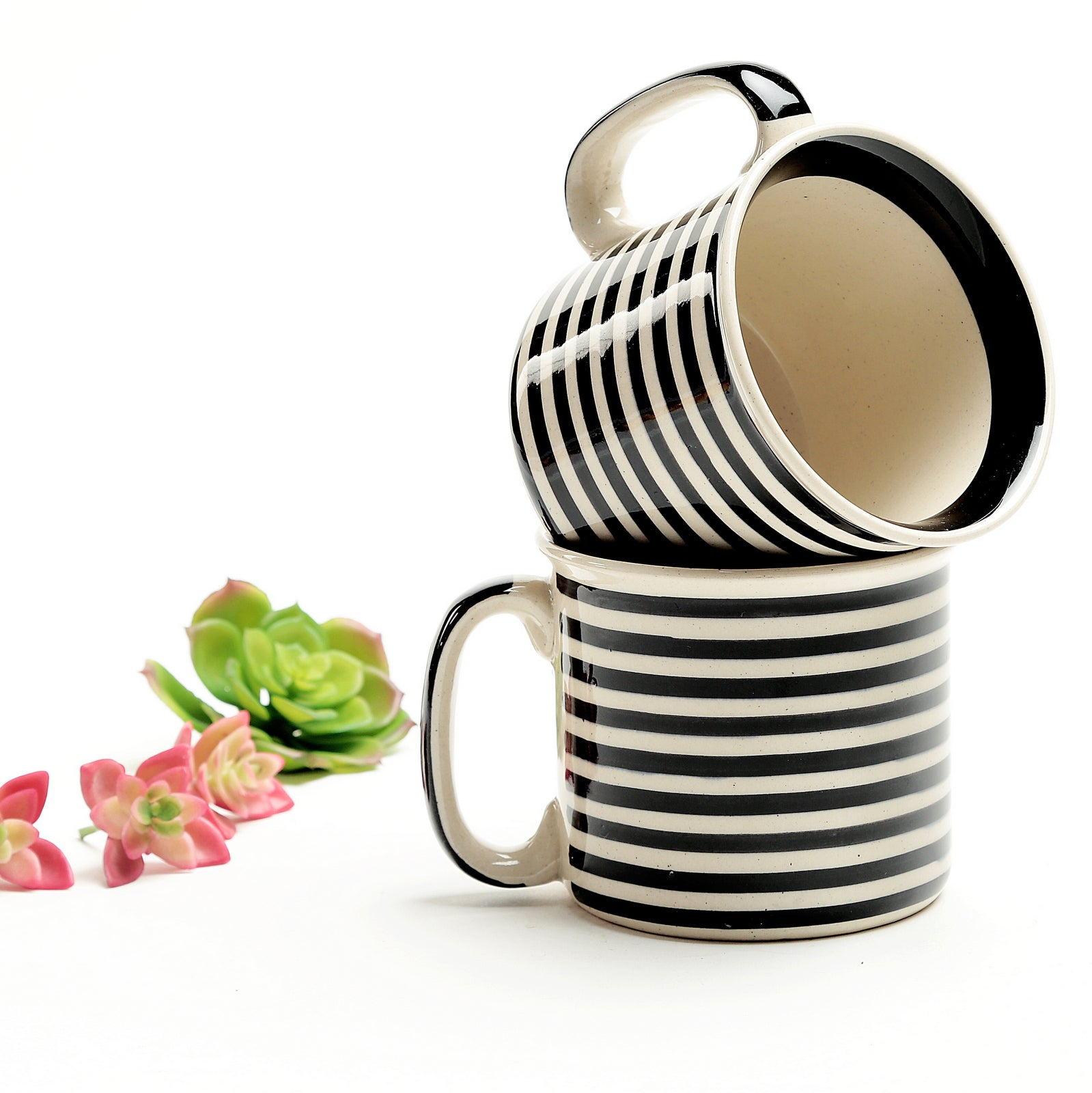 Stripped Black and White Noodles Mug- Set of 2