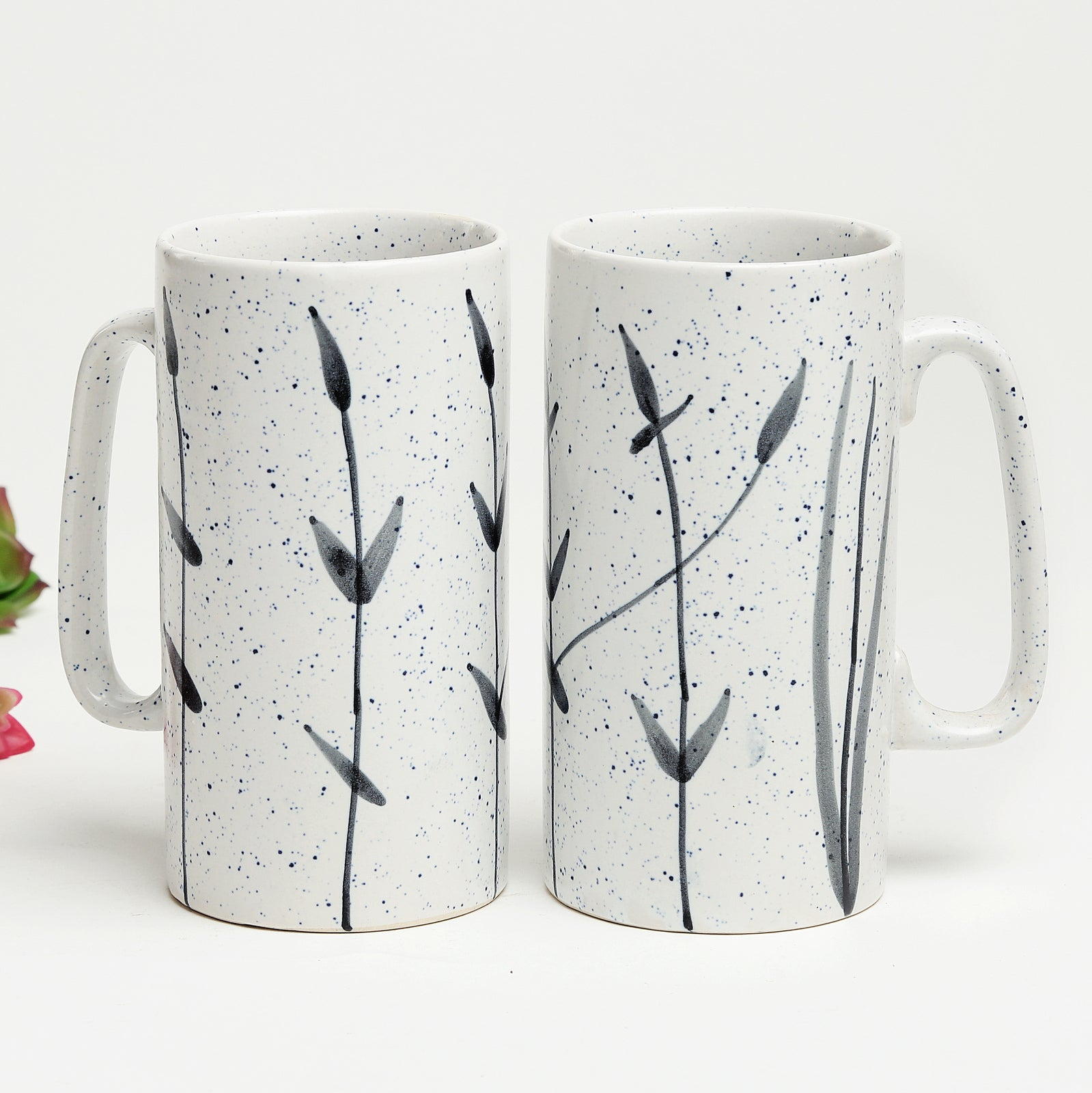 Black and White Tunnel Beer Mugs - set of 2