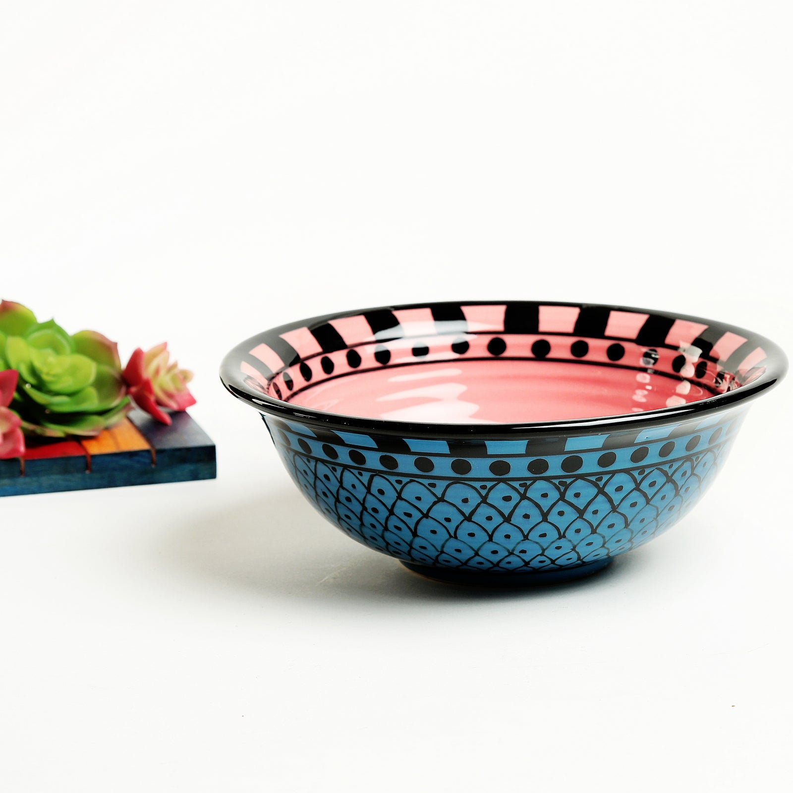 Amaia Handpainted Ceramic Snacks Bowl - Blue and Pink - Large