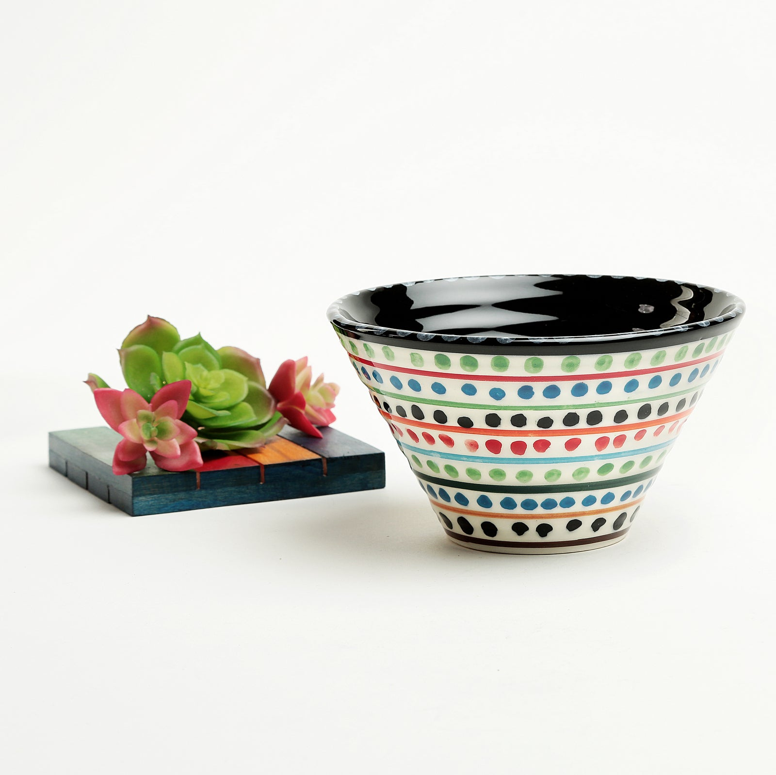 Clara Ceramic Cone Bowl-black