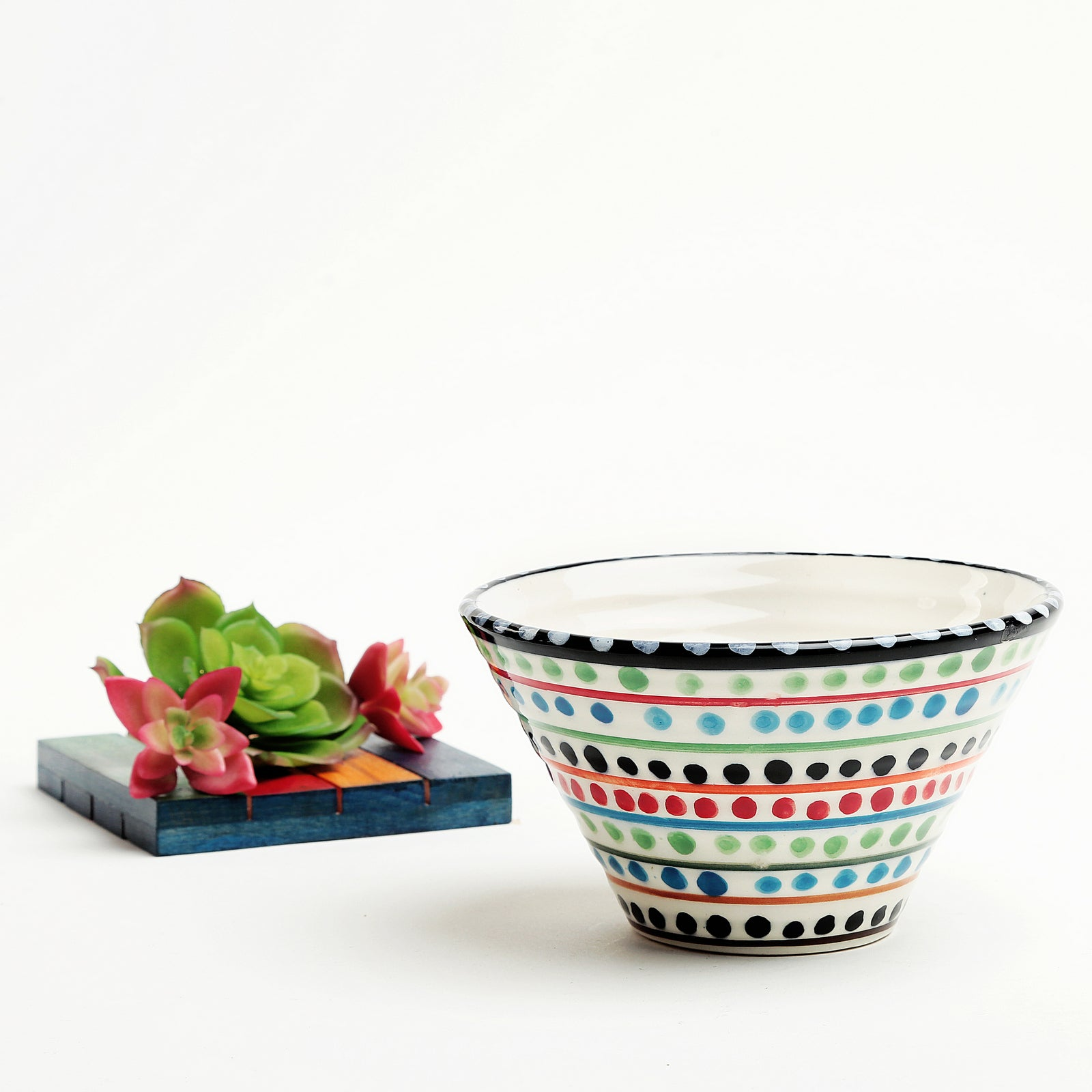 Clara Ceramic Cone Bowl-white