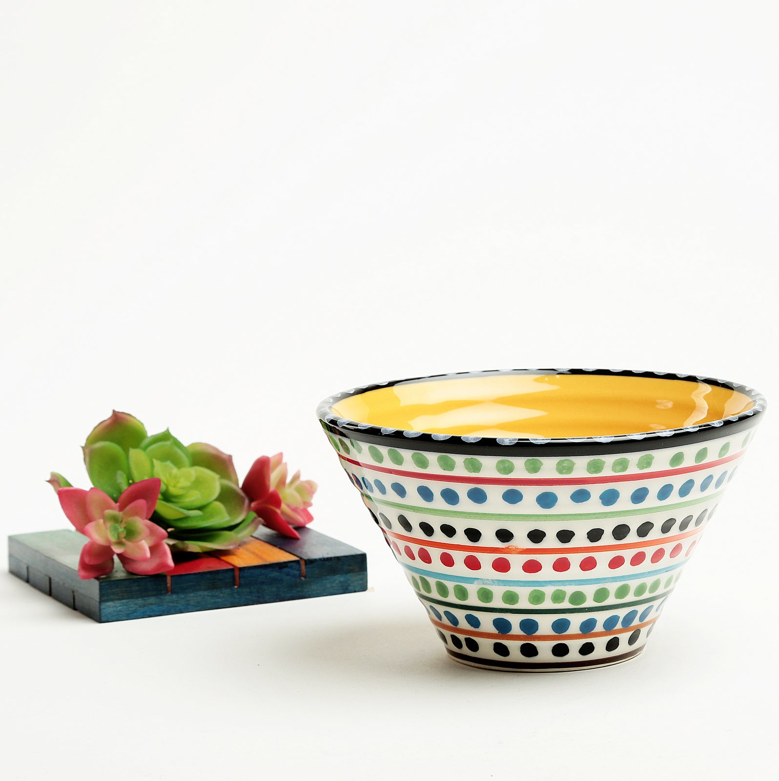 Clara Ceramic Cone Bowl-yellow
