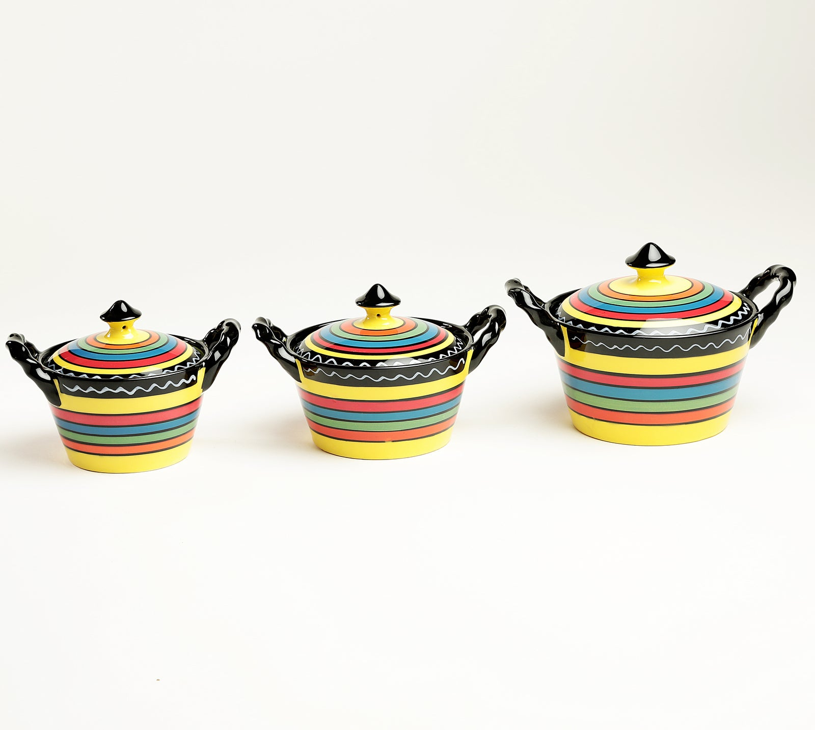 Multicolor Ceramic Serving Bowls with Lid - Set of 3
