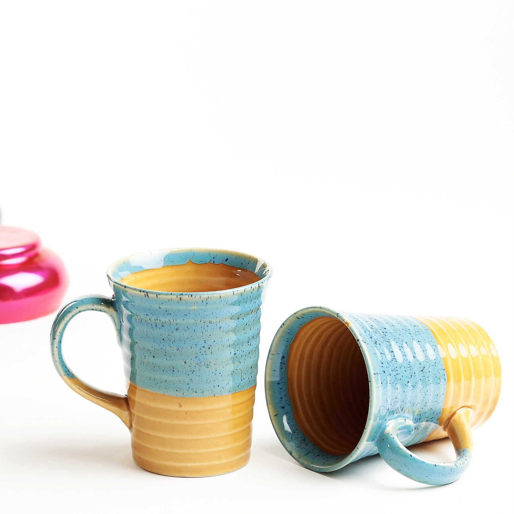 Studio Yellow and Turquoise Emric Coffee Mugs - Set of 2