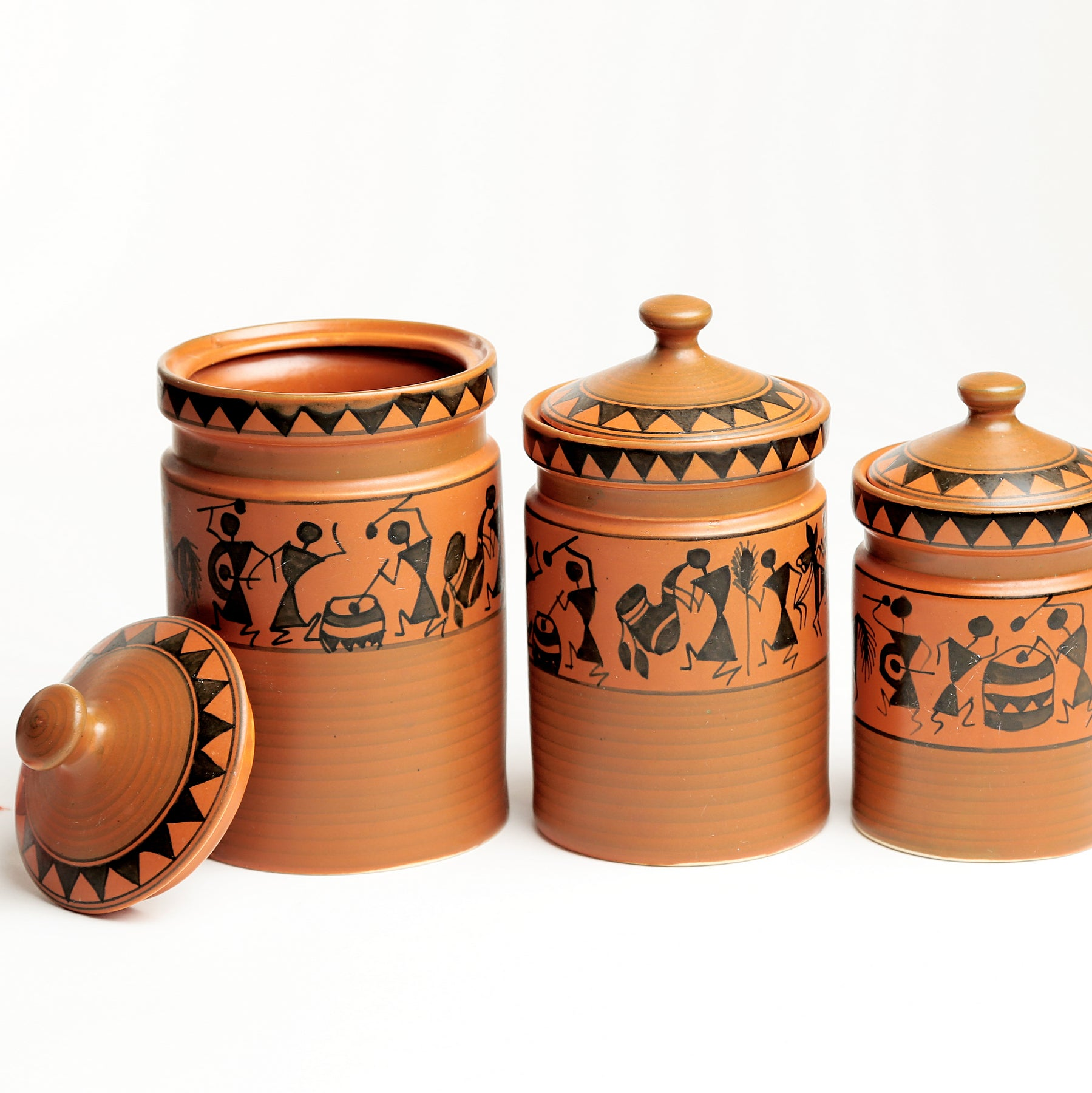Terracotta Warli Handpainted Ceramic Cookie Jars/Barni/Containers - Set of 3