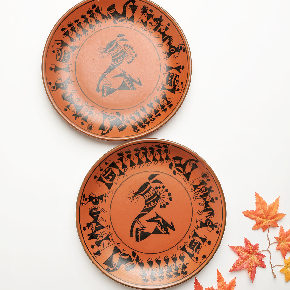 Terracotta Warli Handpainted Dinner Plates - Set of 2
