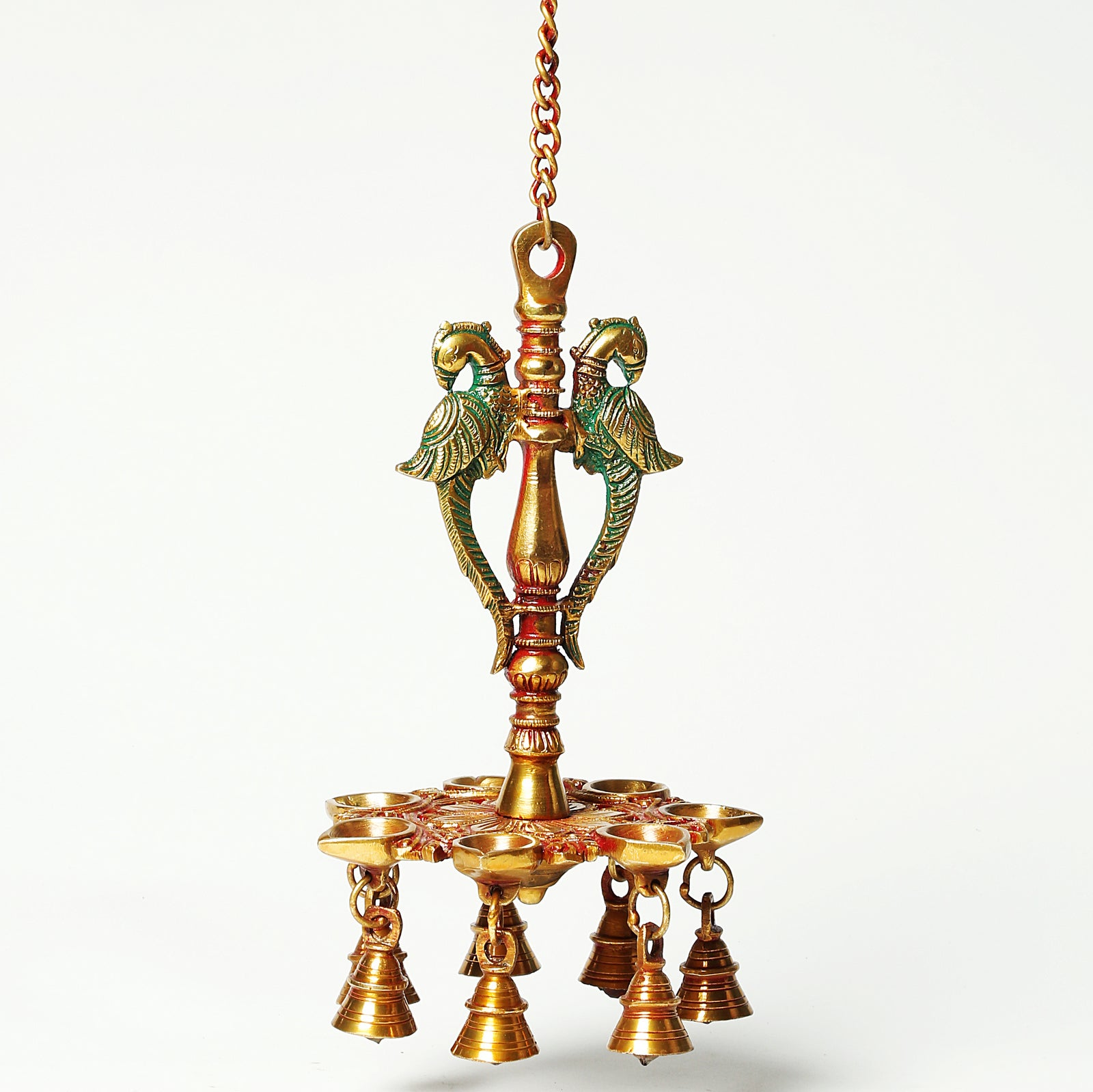 Hanging Peacock Diya with Bells